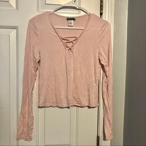 Wet Seal Pink LaceUp Long Sleeve